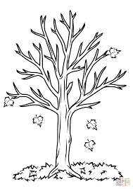 Fall Tree Coloring Page For Leafless