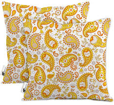 Orange Boho Paisley Waterproof Outdoor Throw Pillows