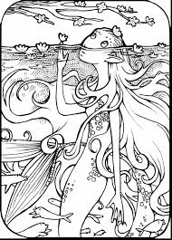 Terrific Adult Coloring Pages Mermaids With Mermaid Page And For Free