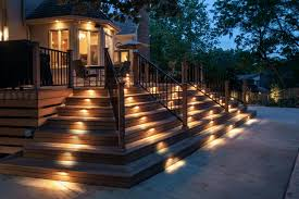 solar powered outdoor stair lights on a terrace of a fabulous