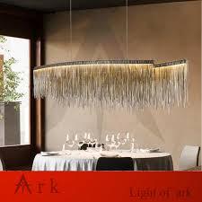 moderne italien quaste linie pendelleuchten silber aluminium kette led pendelleuchte esszimmer zeigen haus neue design hangl
