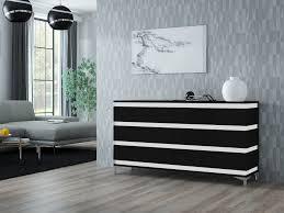 zebra kommode sideboard mit füßen hochglanz weiß schwarz sonoma 160 cm esa home