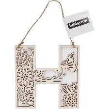 Wooden Filigree Hanging Letter H 13Cm Hobbycraft