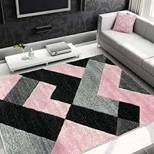 de moderner stil teppich wohnzimmer schwarz grau