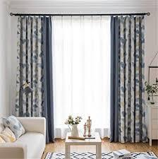 naturer blau vorhänge verdunklung kräuselband 245x140 lang ahornblatt muster gardinen blickdicht 2er set thermo wohnzimmer blumenmuster boho chic