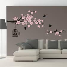 details zu wandtattoo wandaufkleber 2 farbig ast kirschblüte vogelkäfig wohnzimmer 530