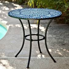 30 inch metal outdoor bistro patio table with laid blue