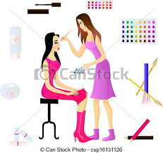 Makeup Artist And Her Client Eps 10 Vector