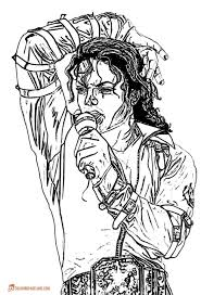 MJ With Microphone Coloring Template Download Print