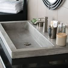 Small Trough Bathroom Sink With Two Faucets by Best 25 Concrete Sink Bathroom Ideas On Pinterest Concrete