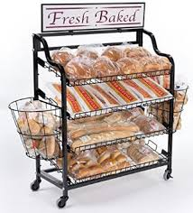 Get Quotations FixtureDisplays Bakery Display Rack W Wheels 4 Shelves 2 Side Baskets Header