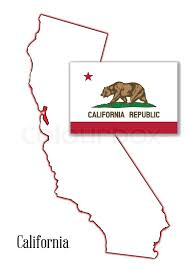State Map Outline Of California Over A White Background With Flag Inset