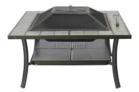 Ebay Patio Table Cover by Foxhunter Garden Steel Fire Pit Firepit Brazier Square With Tile