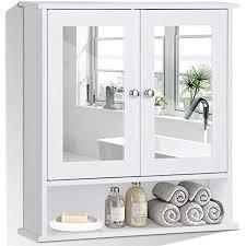 costway spiegelschrank badezimmer badschrank mit spiegel badezimmerschrank mit höhenverstellbarer ablage badezimmerspiegel hängeschrank badmöbel