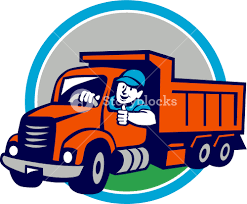 Illustration Of A Dump Truck Driver Smiling And Driving With Thumbs ...