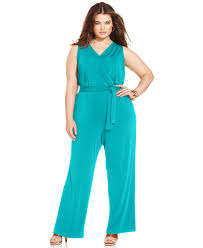 ny collection plus size sleeveless belted jumpsuit jumpsuits