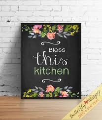 Bless This Kitchen Art Rustic Shabby Chic Quote Decor Home Watercolor Flower Framed Quotes Wall Printable