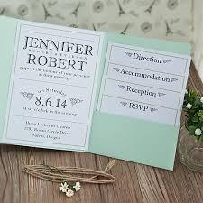 Invitations EWPI194 Daisy Love Mint Green Rustic Spring Pocket Wedding Invite