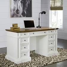 SAUDER Harbor View Antiqued White Desk with Hutch The