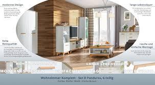 set a lano 6 teilig farbe weiß eiche braun wohnzimmer