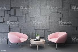 graue wohnzimmer rosa sessel und tisch stockfoto und mehr bilder behaglich