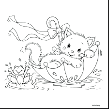 Coloring Pages Kitten Cat Free Cute Kitty Page Newborn Color