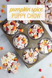 Pumpkin Spice Chex Mix With Candy Corn by This Pumpkin Spice Puppy Chow Is A Must For Your Halloween Party
