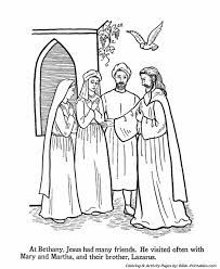 Jesus Teaches Coloring Pages P14 Visits Mary Martha And Lazarus At Bethany