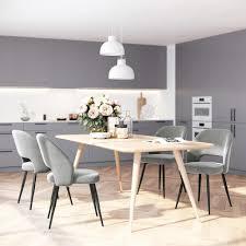 songmics esszimmerstühle grau 2er set retro sessel küchenstühle mit samtbezug polsterstühle mit metallbeinen loungesessel ldc81gy