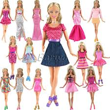 Amazoncom BARWA 5pcs Fashion Mini Dress For Barbie Doll Handmade