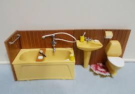 lundby 70er badezimmer badewanne waschbecken wc zubehör metall 1 18
