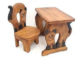 bureau enfant en bois ensemble bureau et chaise pour enfant en bois massif sculptés