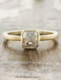 Radiant Cut Rough Diamond Ring Natural Rustic Look