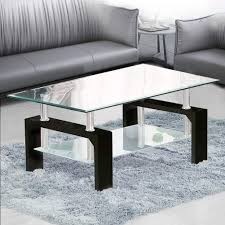 100 Living Room Table Modern TUKAILAI Rectangle Clear Glass Coffee Side With Lower Shelf Chrome And MDF Support Room Guest Reception Black
