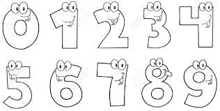 Outlined Funny Numbers Cartoon Characters Royalty Free Cliparts