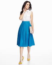 catherine malandrino ronnie pleated a line midi skirt in blue lyst