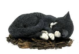 cat garden statue sleeping black and white cat resin garden ornament 17 99