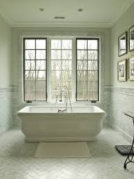 Tile Around Freestanding Tub Bathroom Traditional With Wall Decor White
