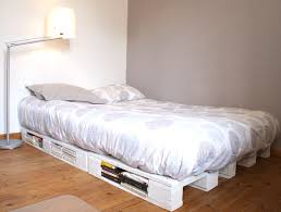 White Wood Pallet Bed Frame Diy Project Lamp Linen Satin Sheets