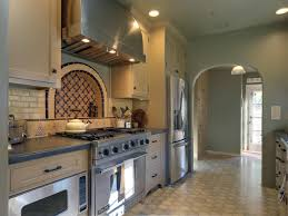 mediterranean kitchen with tile mosaic with luxury lighting and