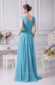light blue prom dress elegant a line v neck short sleeve chiffon