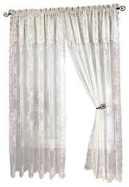 Annas Linens Curtain Panels by Carly Lace Curtain Panel With Attached Valance With Tassels