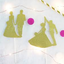 Home By Theme Rustic Bride And Groom Silhouette Gold Glitters Cake Topper