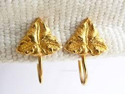 Antiques Atlas Vintage Hand Made 18ct Gold Leaf Design Earrings