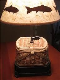 Fly Fishing Creel Basket Table Lamp Rustic Lake Cabin Hunt Lodge Decor Lampshade