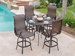 rustico wicker outdoor pub table with bar stools 5 piece set