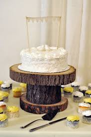 Homemade Rustic Cake Stand Ceremony Decorations