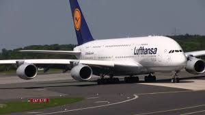 Lufthansa Airbus A380 800 Landing Dusseldorf Airport