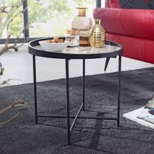 wohnling design beistelltisch rund ø46 cm marmor optik weiß wohnzimmertisch metallbeine schwarz couchtisch