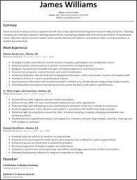 Resume Templates Template Free Word New Od Specialist Sample For Medical Assistant